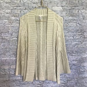 Chico's Speckled Gold Open Cardigan Knit Sweater 2